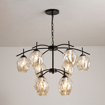 Multi Light Bubble Pendant Light Vintage Cognac Glass Hanging Light for Sitting Room