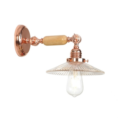Single Light Scalloped Wall Sconce Modern Wall Mount Fixture in Rose Gold with Clear Glass Shade