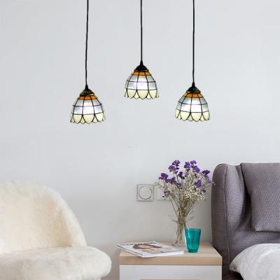 Three Lights Adjustable Tiffany Downlight Multi-light Pendant