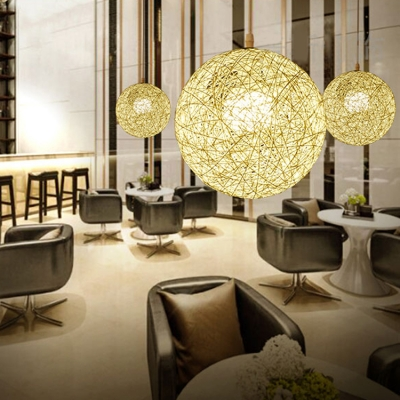 Weave Round Shape Suspended Lamp Designers Style Colorful Rattan Hanging Light for Balcony