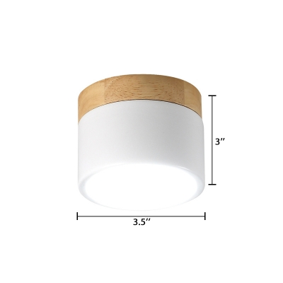 White Cylindrical Ceiling Flush Mount Minimalist Wood LED Flush Mount Light for Sitting Room