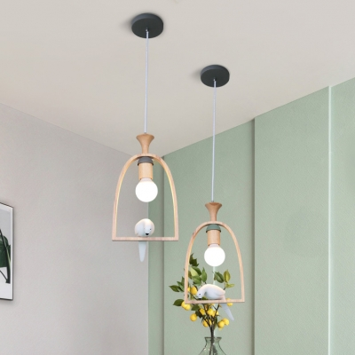 Wooden Arch Shelf Pendant Light with Pigeon Bedroom Single Head LED Suspended Light in Gray/Green