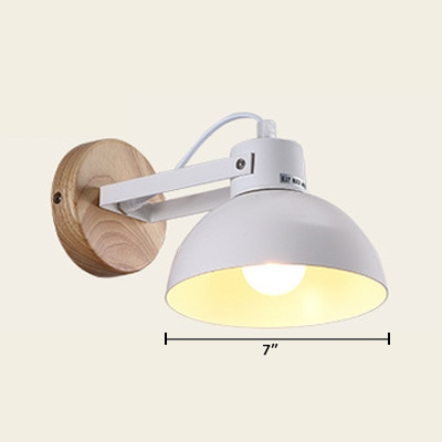 1 Light Dome Wall Mount Light with Wooden Round Base Simplicity Wall Light in White for Bedroom