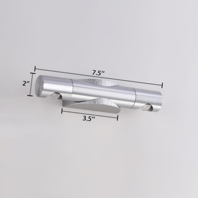 2 Lights Pipe Shape Wall Mount Light Modern Design Aluminum LED Sconce Light for Study Room