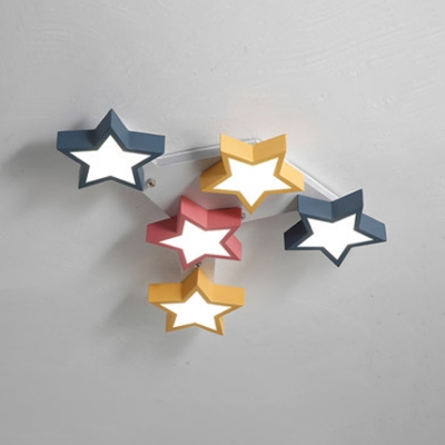 5-LED Star Shape Ceiling Light Macaron Nursing Room Metal Lighting Fixture in Multi Color