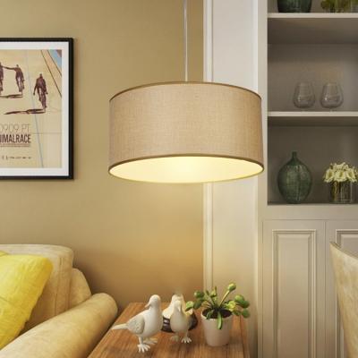 Beige Cylinder Chandelier Concise Modernism Fabric Triple Lights LED Hanging Lamp