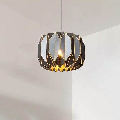 Black Finish Origami Suspended Lamp Modernism Aluminum Single Light Pendant Lamp