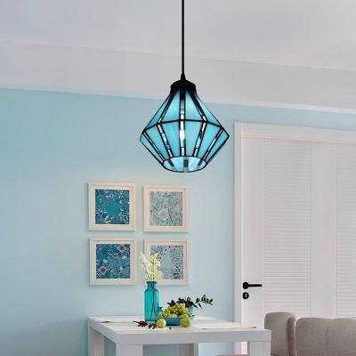Blue Tiffany Glass Shade Single Light 8 Inches Wide Mini Pendant Light