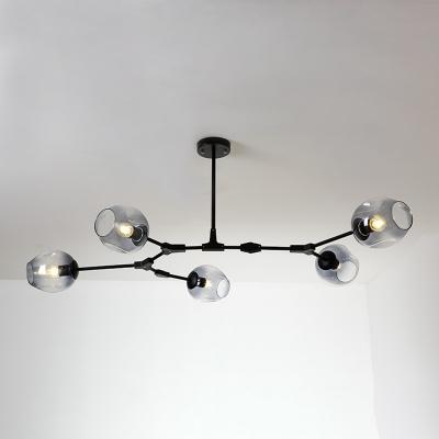 Branch Hanging Light Simple Modern Smoke Glass 5 Light Decorative Ceiling Light in Black