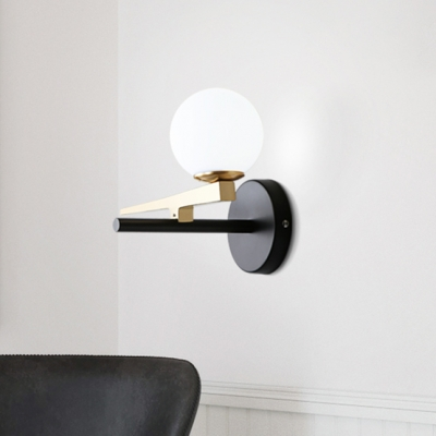 Brass Finish Sphere Wall Light Contemporary Frosted Glass 1 Light Sconce Light for Bedroom
