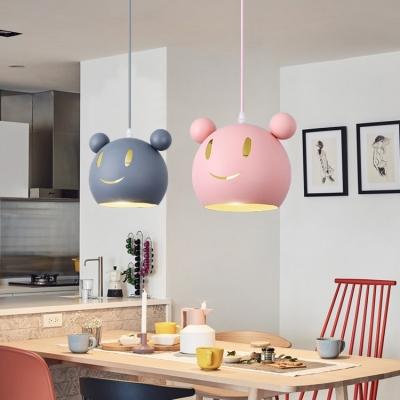 Cartoon Mouse Suspended Light Baby Kids Room Metallic 1 Bulb Pendant Light in Blue/Gray/Pink
