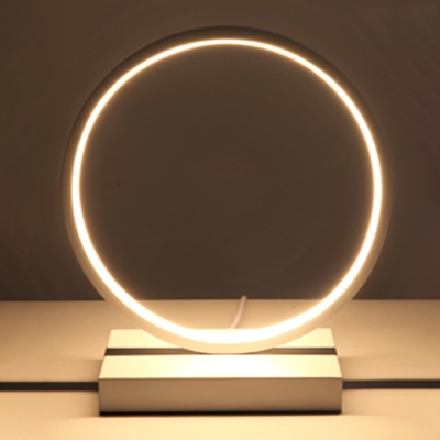 Contemporary Halo Ring Table Light Acrylic LED Standing Table Lamp in White for Bedroom
