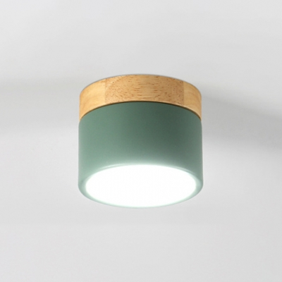 Cylinder LED Ceiling Lamp with Wooden Base Nordic Style Gray/Green Lighting Fixture for Corridor