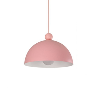 Dome Pendant Lamp Macaron Colorful Metal Single Head Hanging Light for Children Room