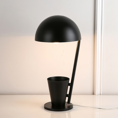Dome Shade Table Lamp Stylish Creative Metal Desk Light with Cup Decorative in Black