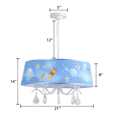 Drum 3/5 Lights Chandelier with Crystal Astronomy&Space White Finish Metal Hanging Lamp for Boys Girls Room