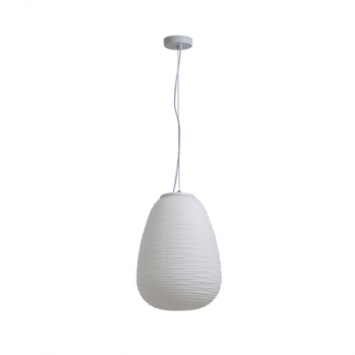 Frosted Glass Ribbed Hanging Light Minimalist Single Light Suspended Lamp for Bedroom in White