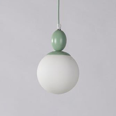 Frosted Glass Sphere Suspension Light Colorful Macaron 1 Bulb Pendant Lamp for Kids