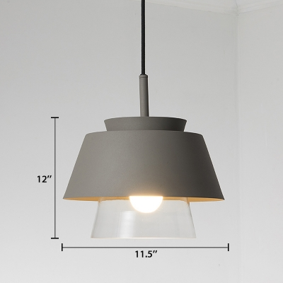 Gray Cone Ceiling Lamp Modern Fashion Clear Glass Accent Lighting Fixture for Balcony