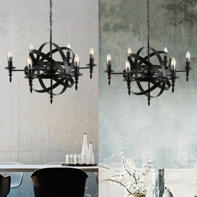 Industrial LED Orb Chandelier with Globe Wire Guard in Matte Black 26'' Wide 6 Light