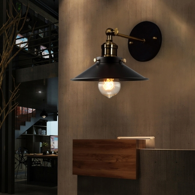Industrial Style 1 Light Wall Sconce with Metal Railroad Shade for Barn Restaurant-Black