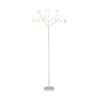 Leaf Design Standing Lamp Designers Style Opal Glass Floor Light for Office Studio