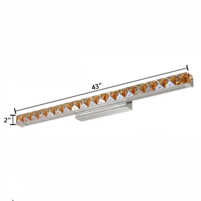 Linear Wall Mount Fixture Modern Style Extendable Crystal LED Vanity Light in Warm/White
