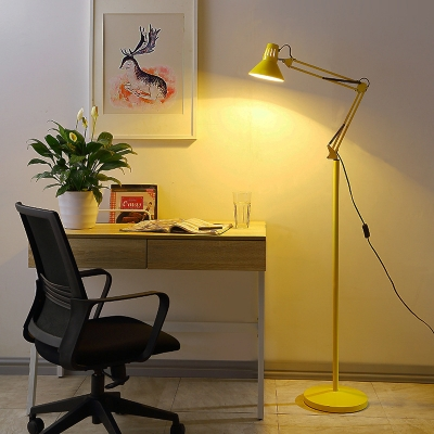 Modernism Conical Floor Lamp Metallic 1 Light Floor Light with Swing Arm in Red/Yellow
