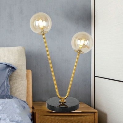 Modo Table Light Industrial Designers Style Glass 2 Light Table Lamp with Marble Base
