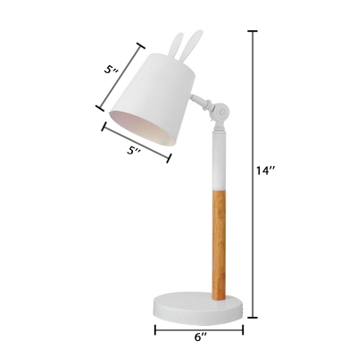Rotatable 1 Light Cone Desk Light Contemporary Metallic Table Lamp in White for Study Room