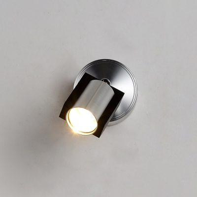 Rotatable 1 Light Cylinder Wall Lamp Stylish Modern Aluminum LED Mini Sconce Light in Silver