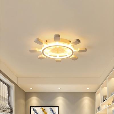 Round Rudder LED Flush Light Nautical Style White Metal Flush Ceiling Light for Amusement Park