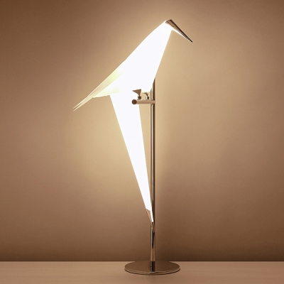 Single Bird Floor Light Natural Modern Metal Decorative Standing Light for Office Studio