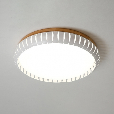 White Drum Shade Ceiling Fixture Contemporary Wooden Base LED Flush Mount Light for Hallway