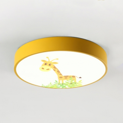 Yellow Ultra Thin Ceiling Light with Cartoon Giraffe Design Nordic Style Acrylic LED Flushmount for Kids