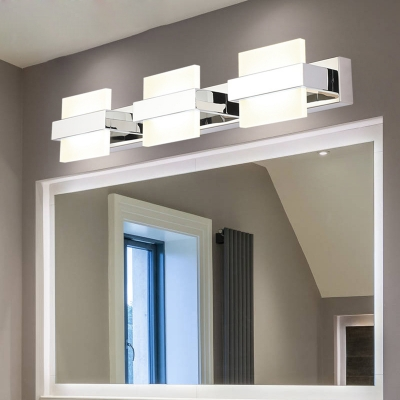 3 4 Lights Square Vanity Light Modern Acrylic Makeup Mirror Light For Bathroom In Neutral Beautifulhalo Com