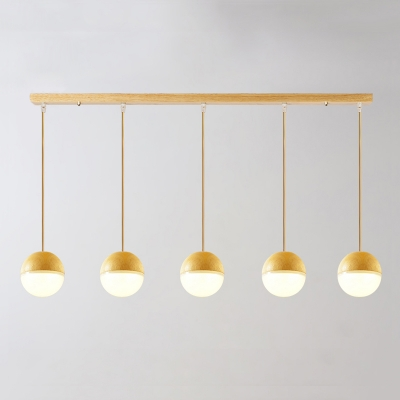 5 Light Ball Shade Island Pendant Light Minimalist Oak Hanging Light for Dining Room