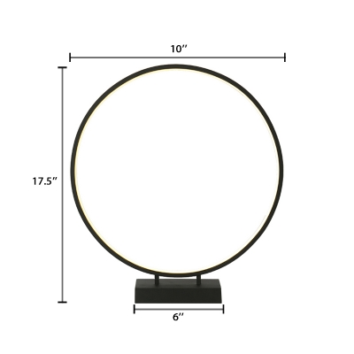 Acrylic Halo Ring Table Light Simplicity LED Standing Table Light in Black for Bedside