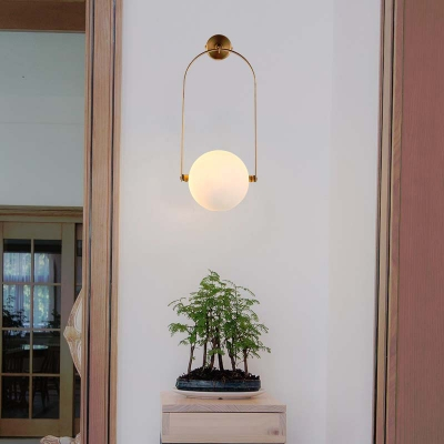 Arched Wall Lighting Minimalist White Glass Single Light Wall Mount Fixture in Brass for Bedside