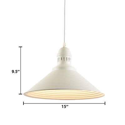 Cone LED Suspended Lamp Modern Fashion Metal 1 Light Ceiling Pendant Lamp in White