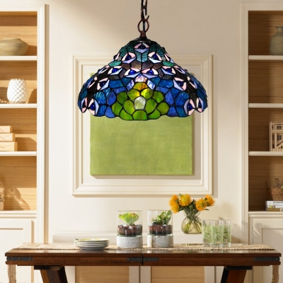 Dark Blue Peacock Pattern 12 Inch Hanging Pendant Lighting in Tiffany Stained Glass Style