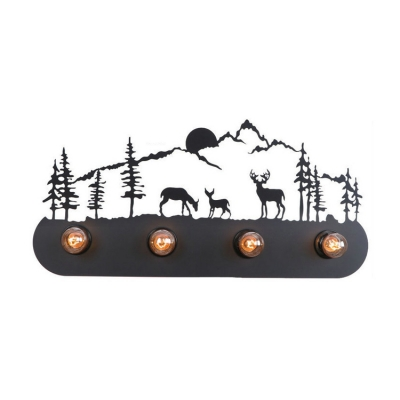 Elk Design Lighting Fixture Lodge Style Industrial Wrought Iron 4 Heads Sconce Light in Black Finish