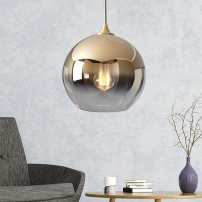 Gold Finish Ball Hanging Lamp Contemporary Faded Glass 1 Bulb Decorative Lighting Fixture