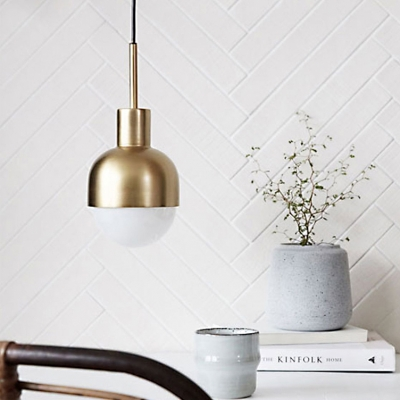 Half Sphere Pendant Light Concise Designers Style White Glass Hanging Lamp for Kitchen