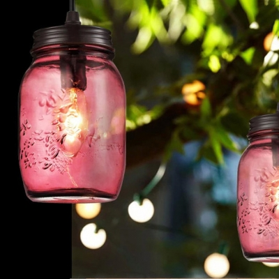 Industrial Hanging Pendant Light in Multicolor, Mason Jar