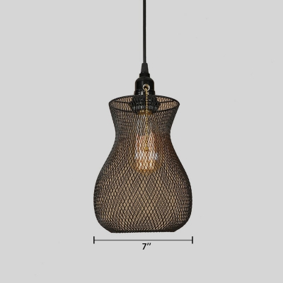 Industrial Pendant Light with Vase Shade Mesh Cage in Black