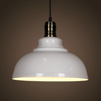 Industrial Style White Finish Dome Shade Downrod Hanging Lamp with Polished Metal Lamp Socket for Restaurant