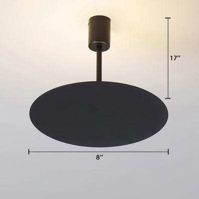 Matte Black Round Suspension Light Simple Style Aluminium Shade LED Hanging Lamp 8