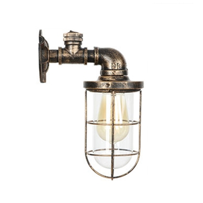 Metal Cage Lighting Fixture Nautical Style Wrought Iron Single Head Wall Mount Light in Bronze