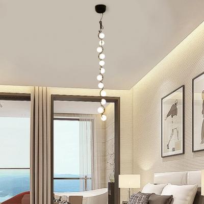 Multi Light Long Pendant Lamp Modern Frosted Glass Globe Branching LED Hanging Light